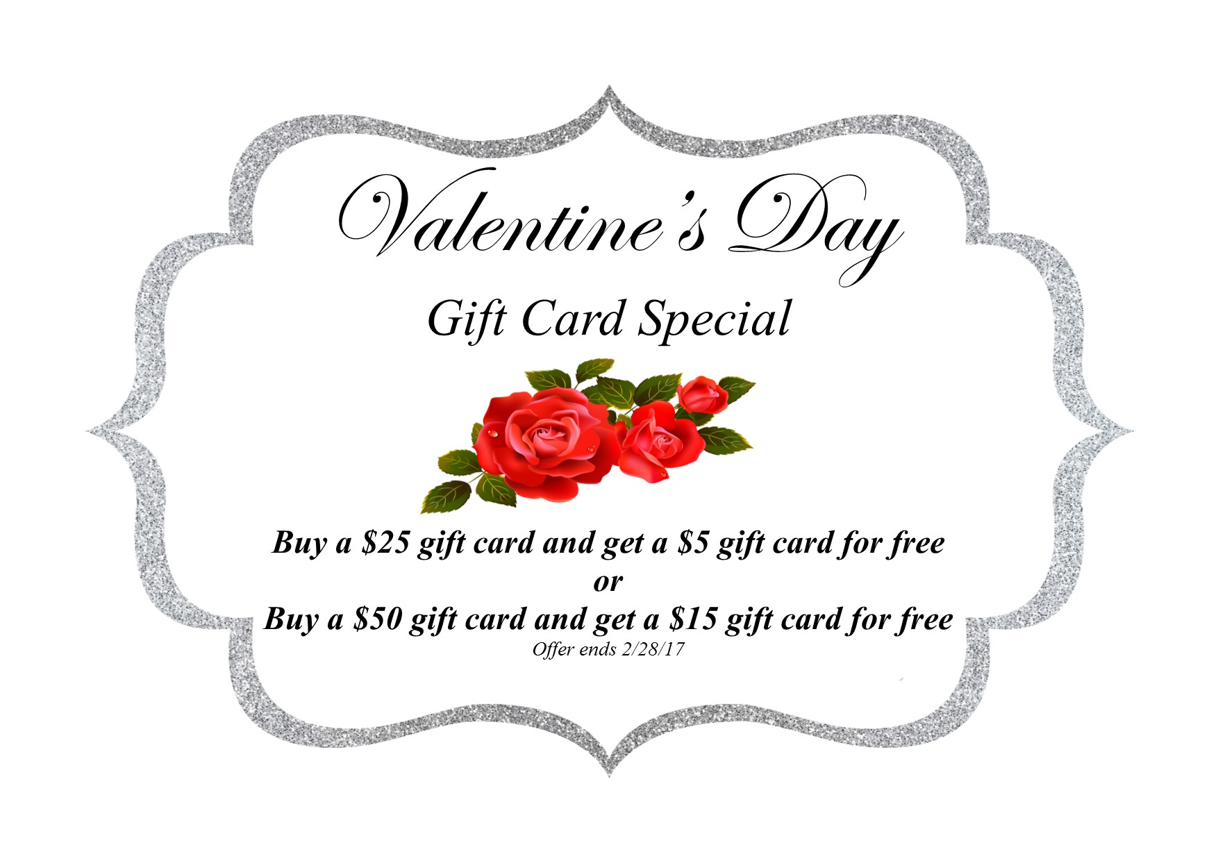Valentines Gift Card Special for capri cosmetology